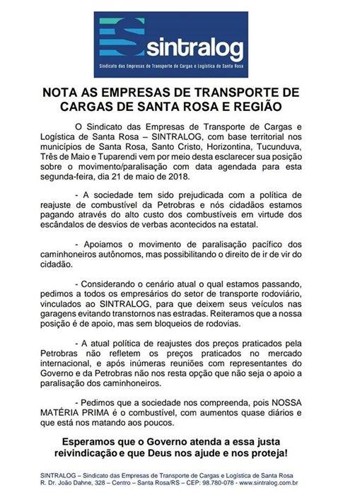 Nota pública as Empresas de Transporte de Cargas - Ref. Greve